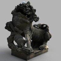lion-statue-006m sculpture 3D model