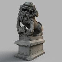 3D lion-statue-007f sculpture model