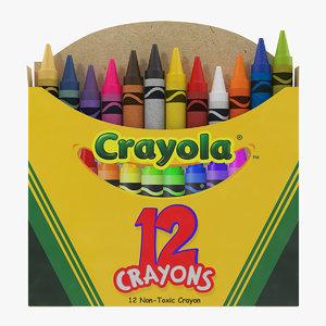 opened crayons box 12 model