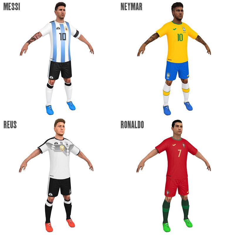 soccer players 2018 3D model