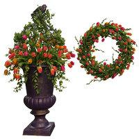 tulips wreath vase flowers model