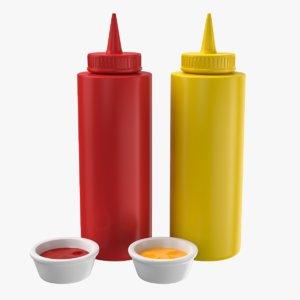 ketchup mustard sauce 3D