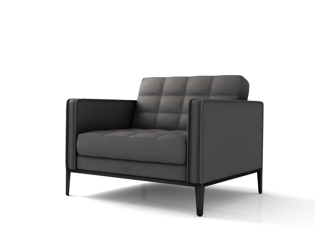 3D lounge armchair low-poly model