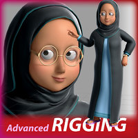 3D cartoon arab woman rigged