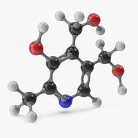 pyridoxine molecular 3D model