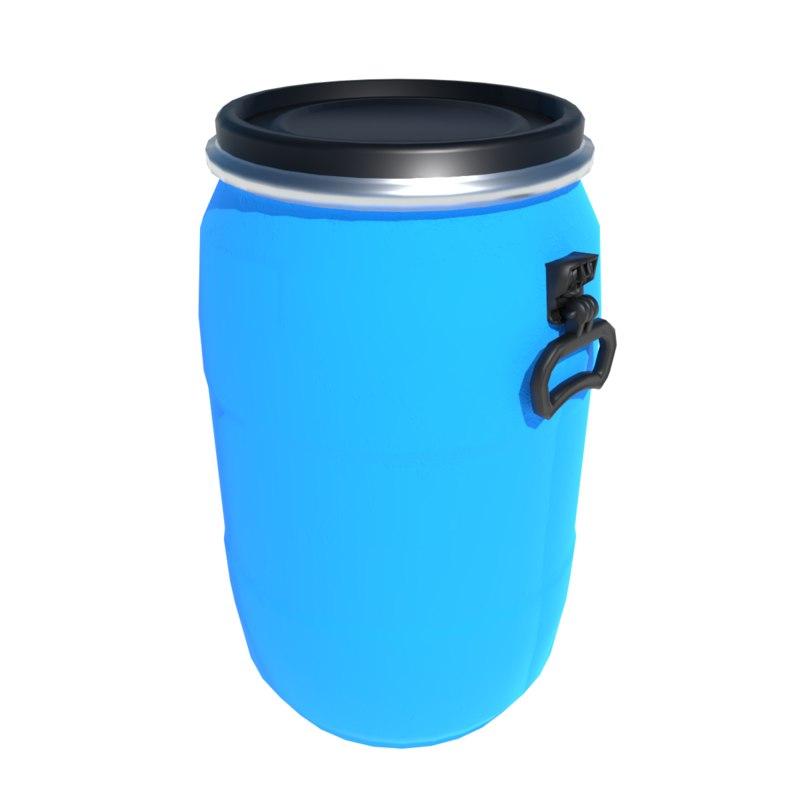 3D blue plastic barrel