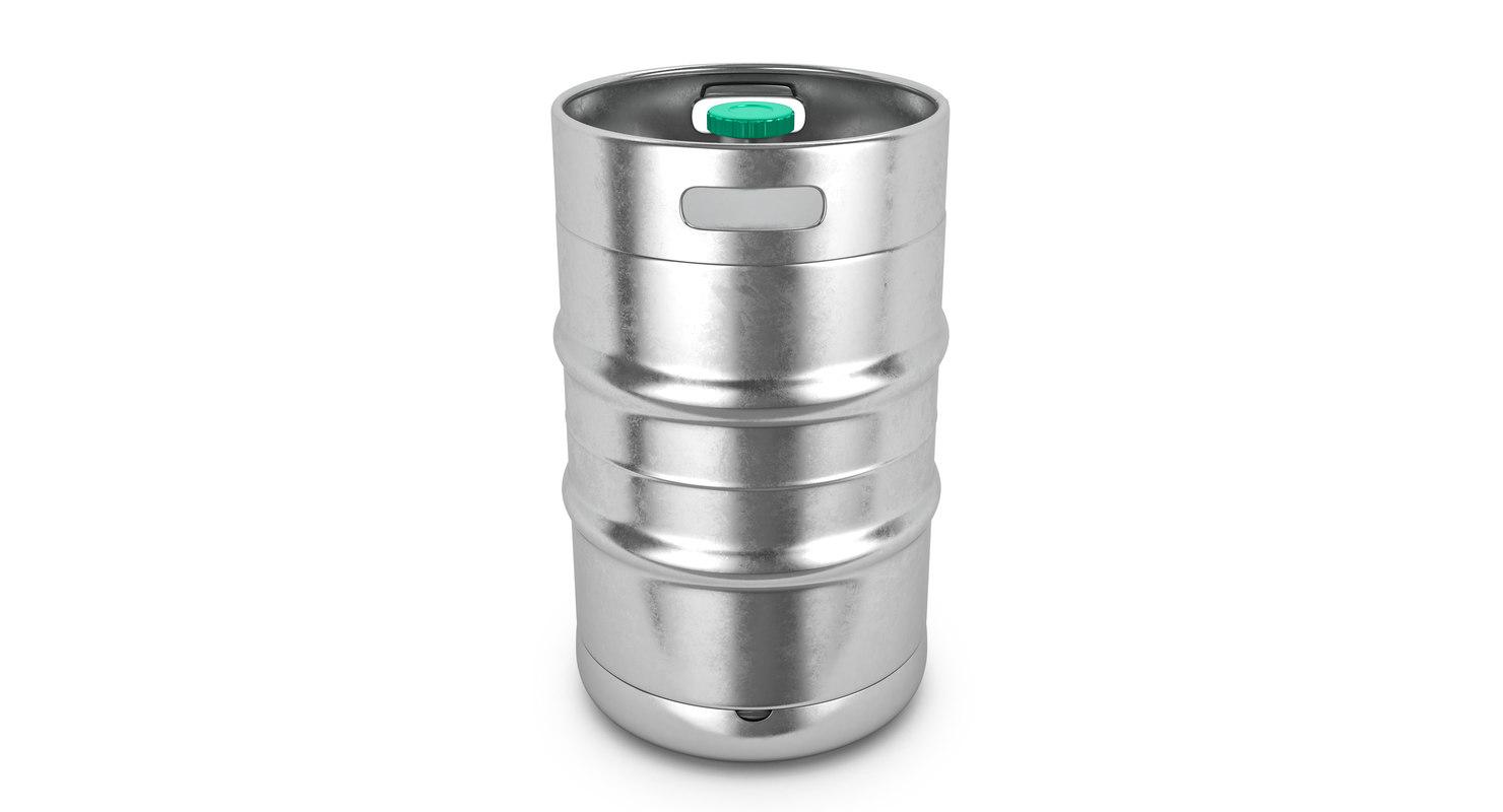 3D metal barrel beer model