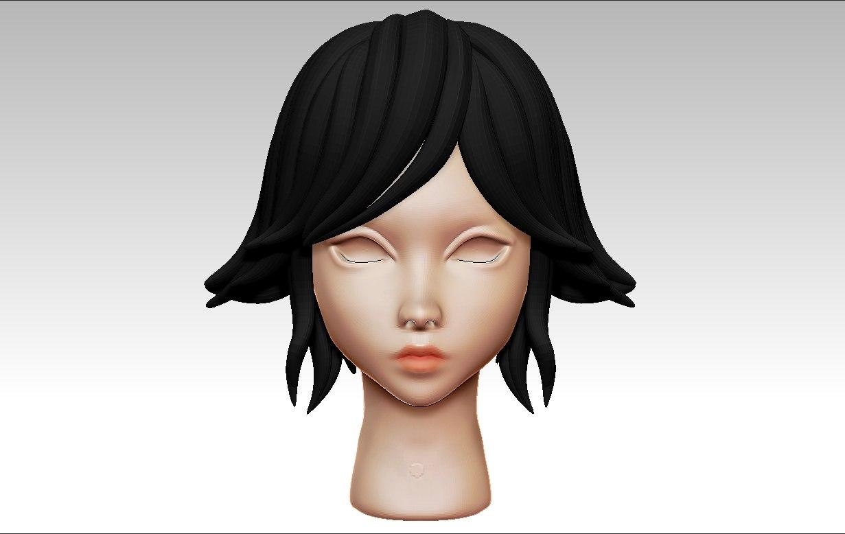 3D anime hair