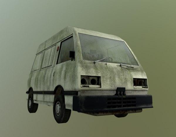 3D abandoned car model