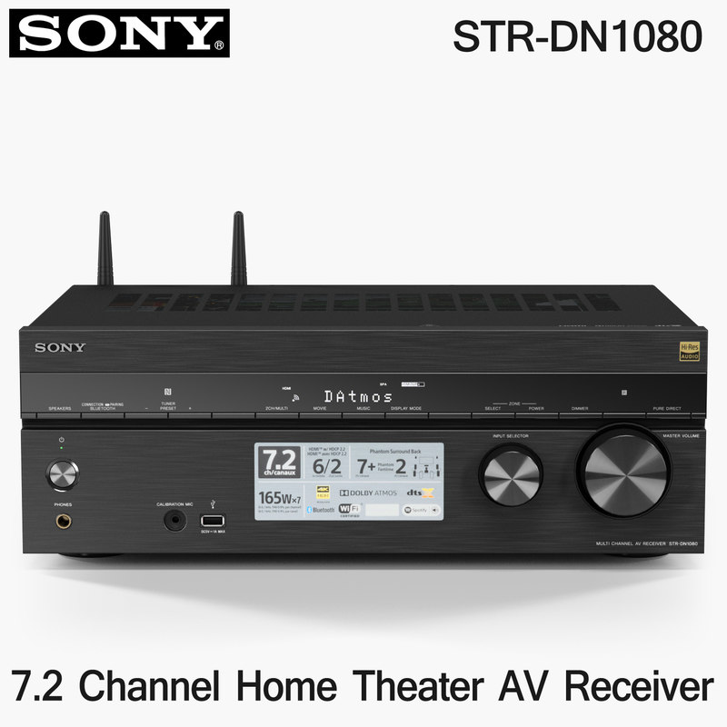 low-poly sony str-dn1080 receiver 3D model