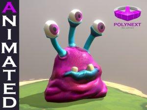 3D slug virus bacteria aliens cartoon