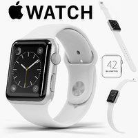 Apple Watch Silver Aluminum Case White Sport Band