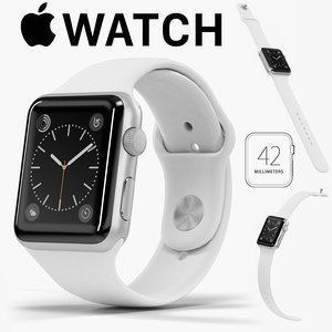 apple watch silver aluminum 3D model