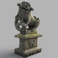 3D model lion-statue-008f lion sculpture