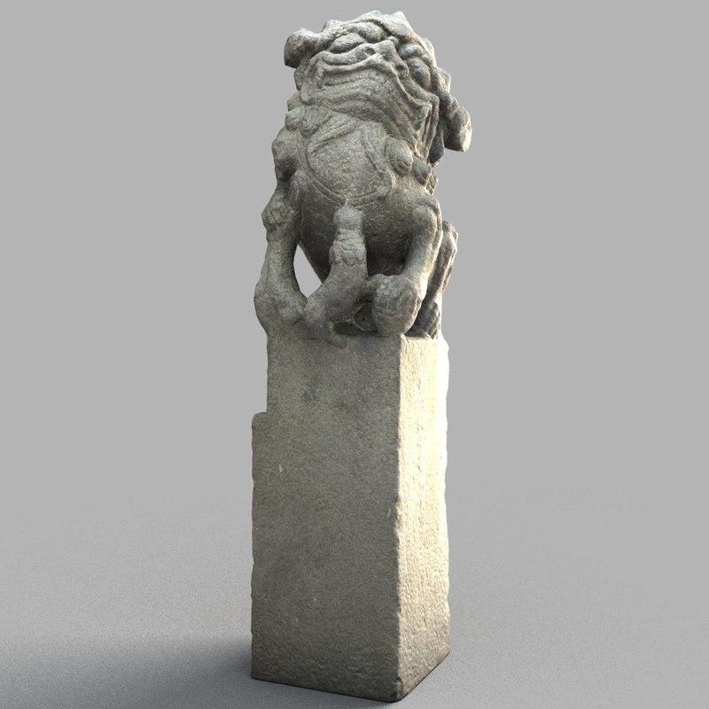 lion-statue-009f lion sculpture 3D model