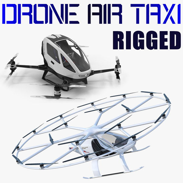 3D model drone air taxi rigged