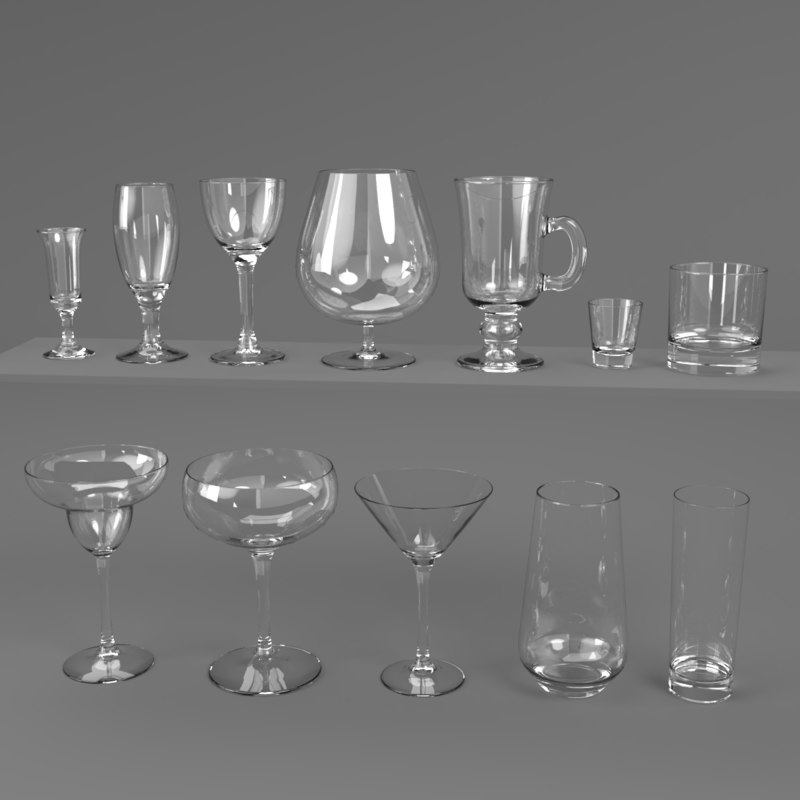 blender set drink glass 3D model