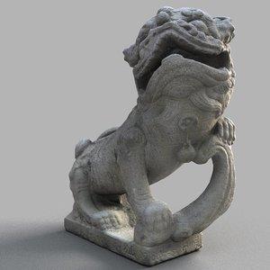 3D lion-statue-010m lion sculpture model