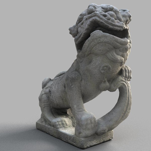 3D lion-statue-010m lion sculpture model