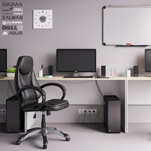 office workplace set dell 3D model