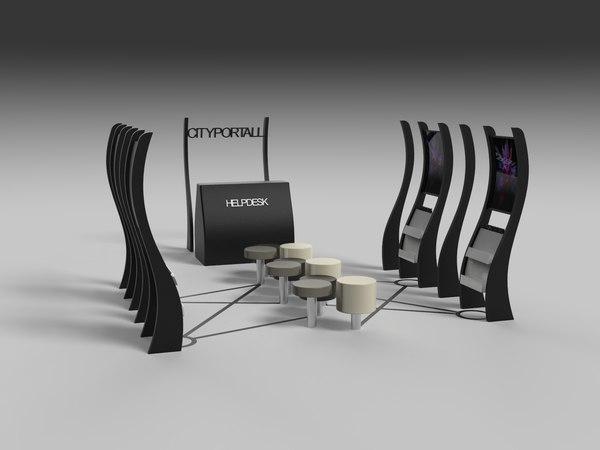 3D open kiosk stand