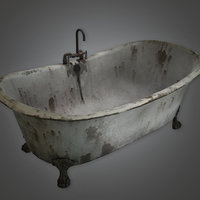 Old Bathtub 01 (Antiques) - PBR Game Ready
