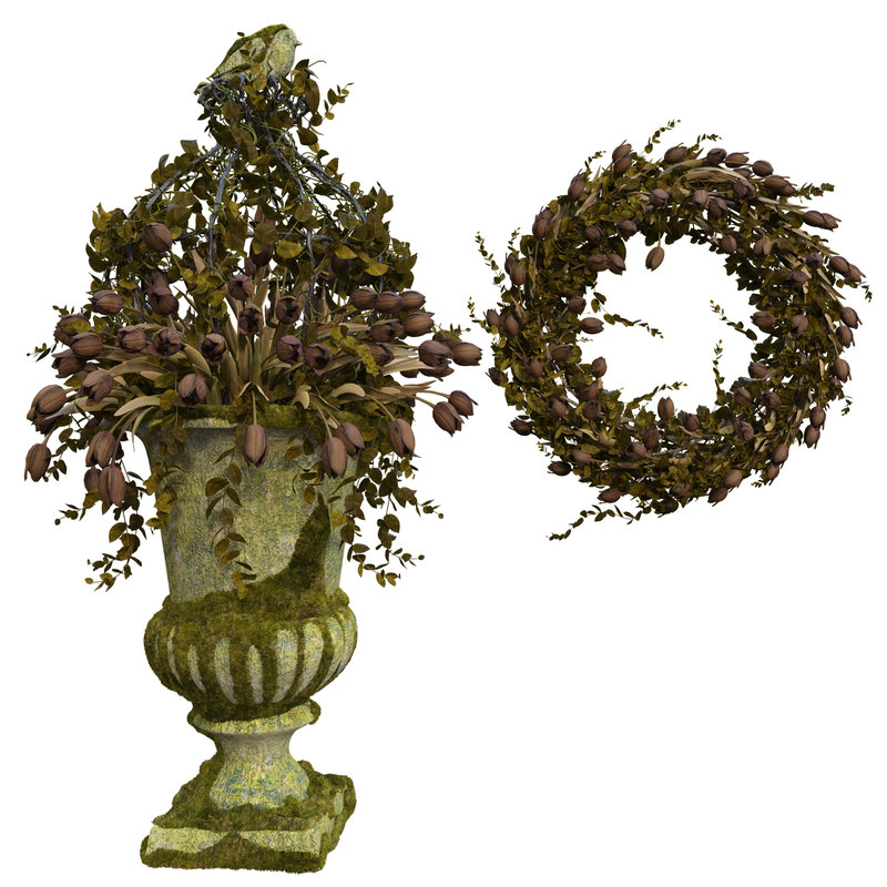3D model old vase wreath decorate