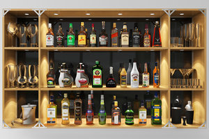 3D bar set whiskey rum