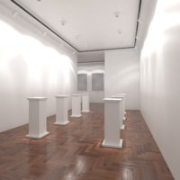 3D white art gallery