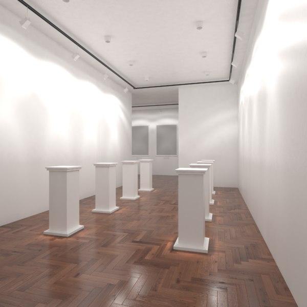 3D white art gallery