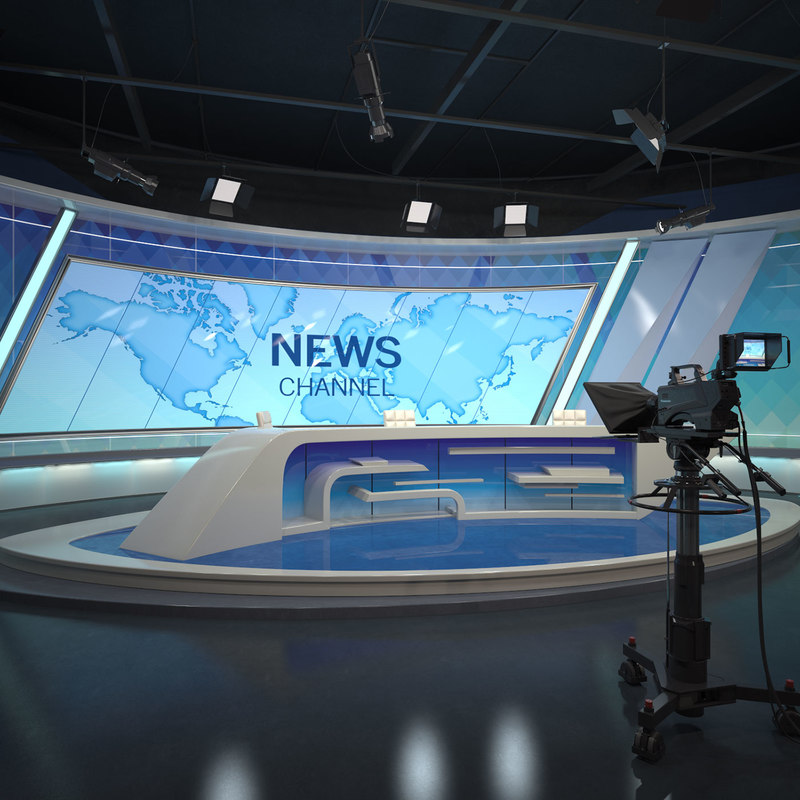 scene tv studio news set 3D model