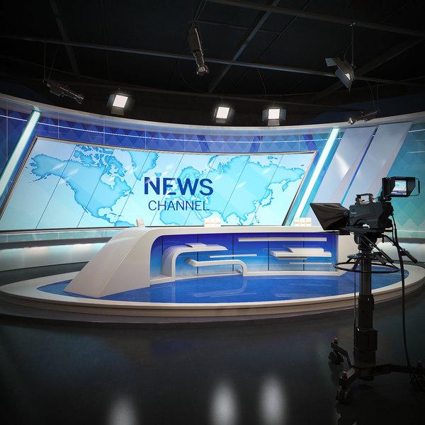 scene tv studio news set 3D model