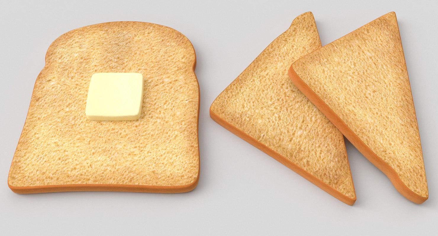 toast bread butter 3D model