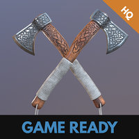 3D model ready viking axe