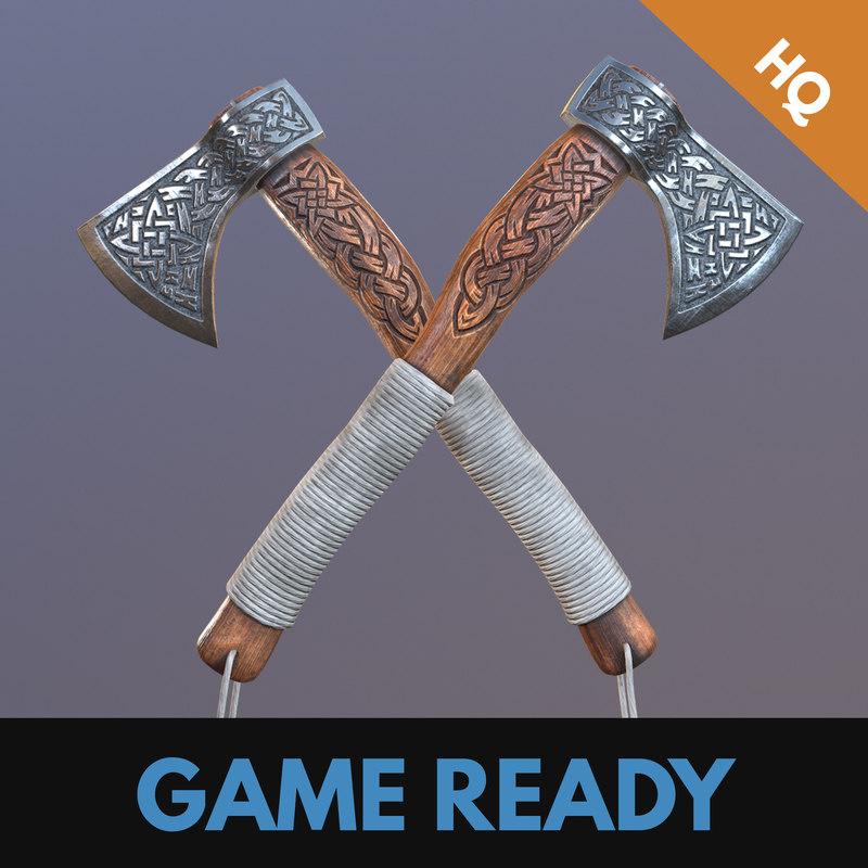 3D model ready viking axe