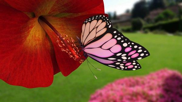3D model butterfly flower