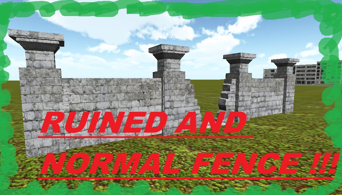ruined fence normal 3D
