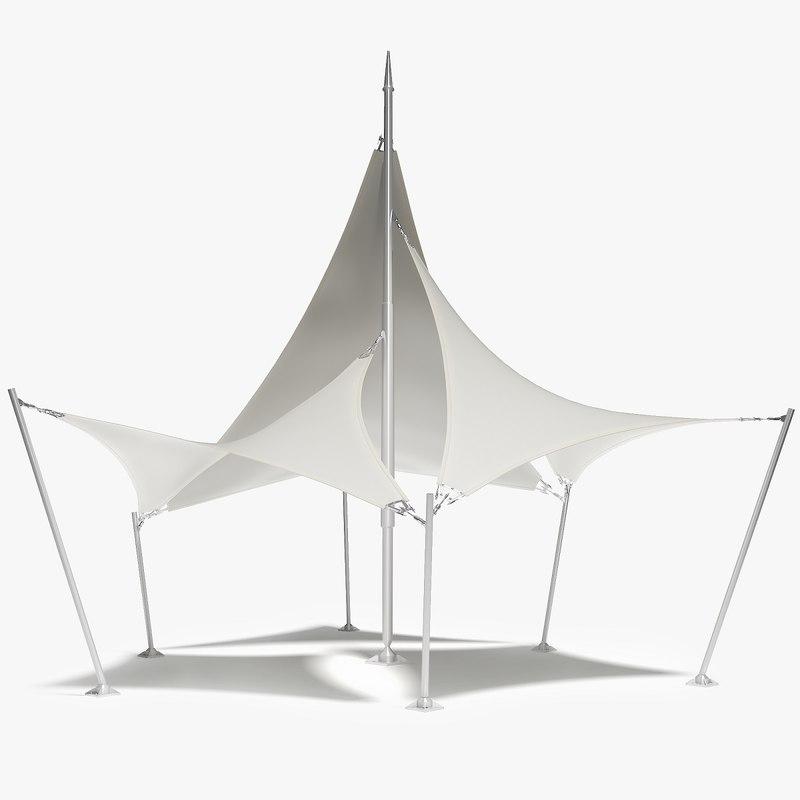 3D model membrane tensile waves tent