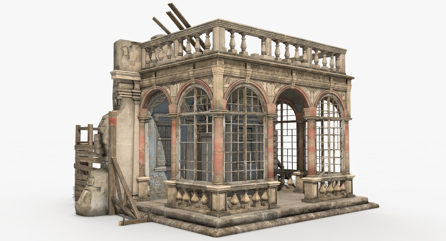 3D model ruined medieval castle