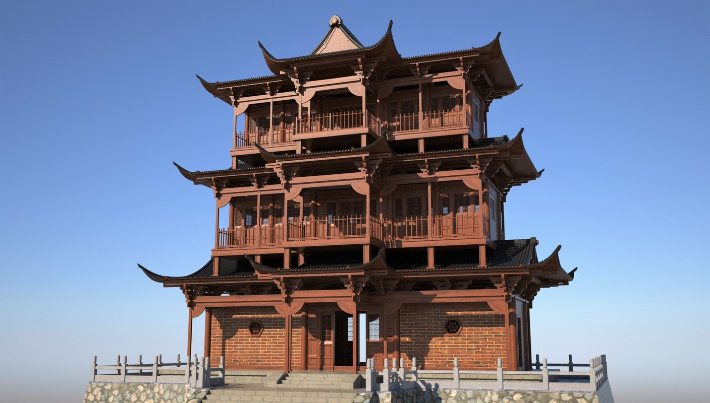 3D model chinese temple building