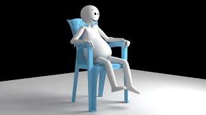 sitting plastic chair 3D model