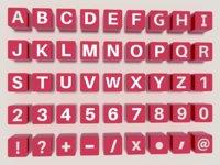 engraved alphabet 3D model