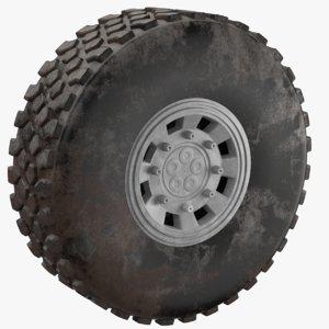 3D tire dirt truck model