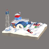 Antarctic scene low poly