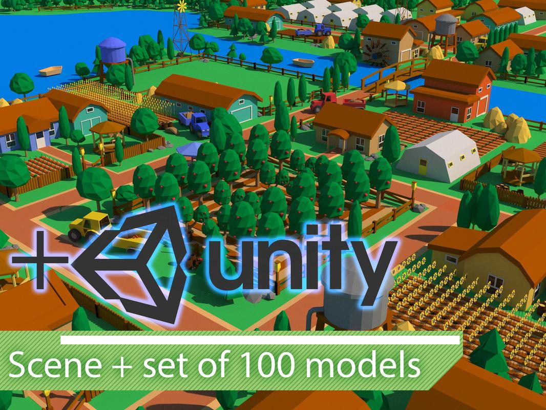 3D farm scene set 100