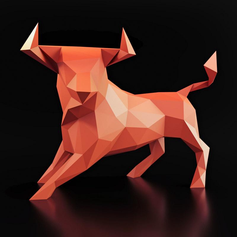 3D bull pose