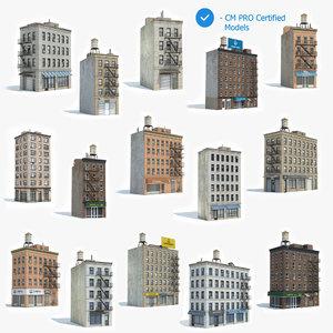 3D ready 15 apartment building model