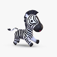 3D model cute cartoon zebra