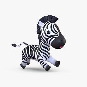 3D model cute cartoon zebra
