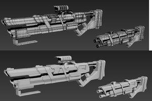 3D futuristic guns model